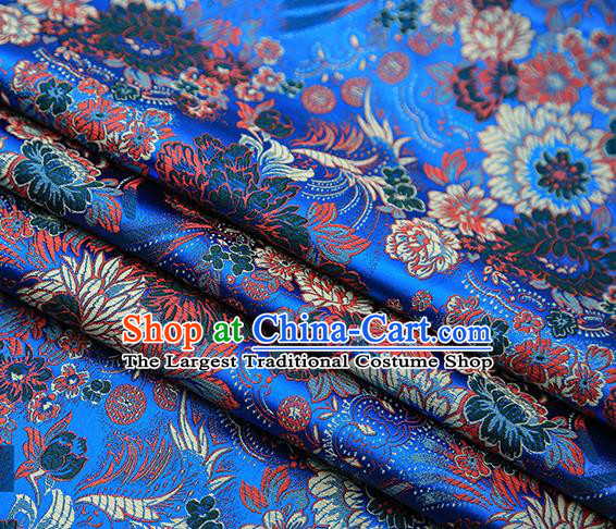 Chinese Traditional Tang Suit Blue Brocade Fabric Classical Chrysanthemum Pattern Design Material Satin Drapery