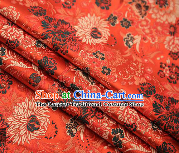Chinese Traditional Tang Suit Orange Brocade Fabric Classical Chrysanthemum Pattern Design Material Satin Drapery