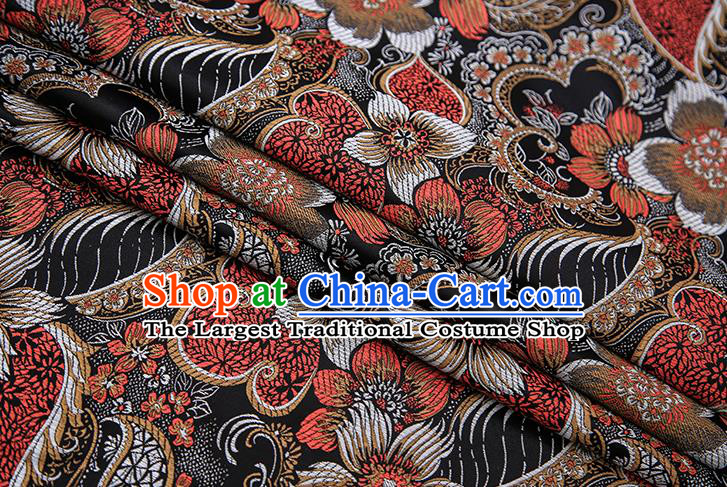 Traditional Chinese Tang Suit Black Brocade Fabric Classical Pattern Design Material Satin Drapery