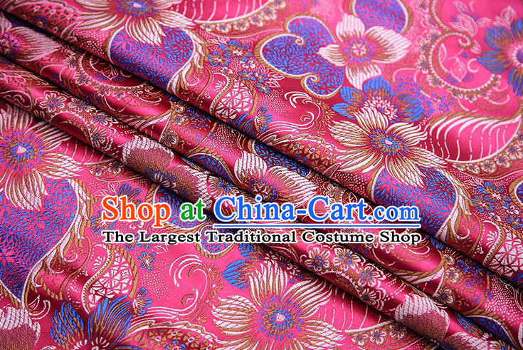Traditional Chinese Tang Suit Rosy Brocade Fabric Classical Pattern Design Material Satin Drapery