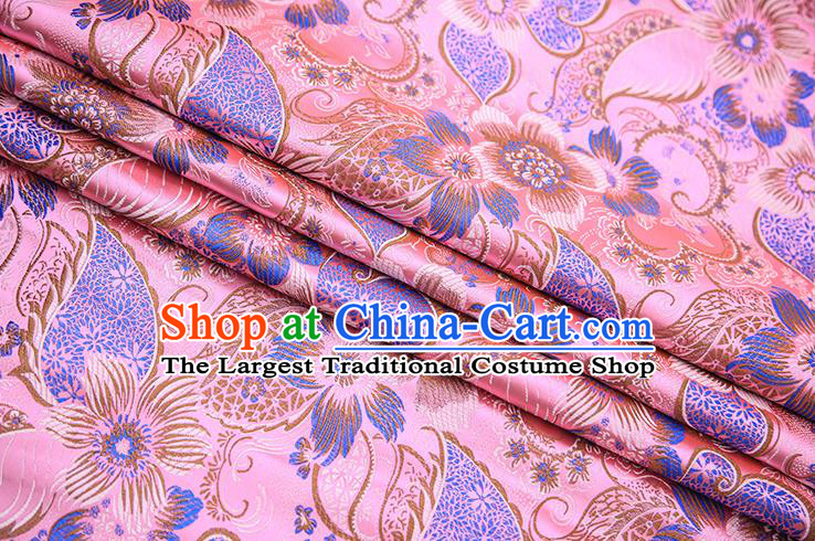 Traditional Chinese Tang Suit Pink Brocade Fabric Classical Pattern Design Material Satin Drapery