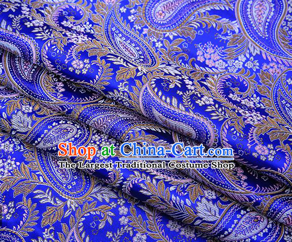 Traditional Chinese Tang Suit Royalblue Brocade Fabric Classical Loquat Flowers Pattern Design Material Satin Drapery