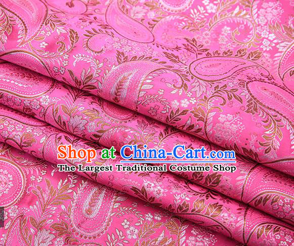 Traditional Chinese Tang Suit Pink Brocade Fabric Classical Loquat Flowers Pattern Design Material Satin Drapery