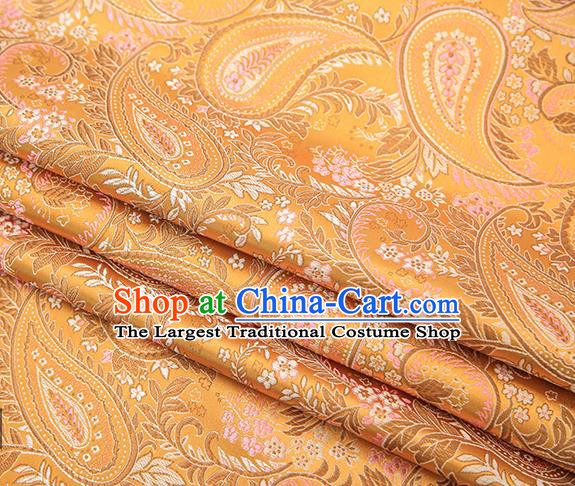 Traditional Chinese Tang Suit Golden Brocade Fabric Classical Loquat Flowers Pattern Design Material Satin Drapery