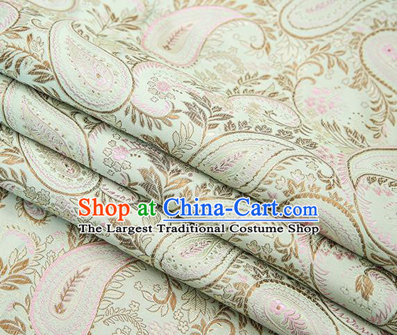 Traditional Chinese Tang Suit Light Green Brocade Fabric Classical Loquat Flowers Pattern Design Material Satin Drapery