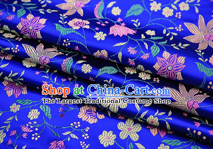 Traditional Chinese Royalblue Satin Tang Suit Brocade Fabric Classical Flowers Pattern Design Silk Material Drapery