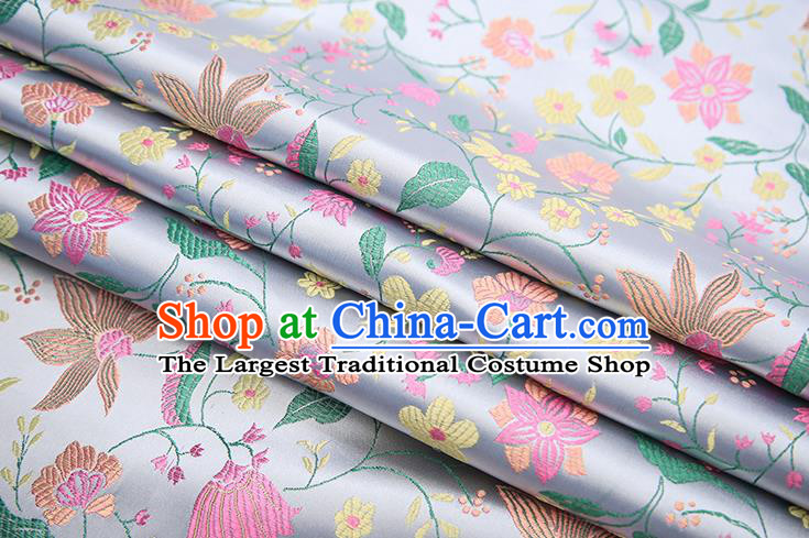 Traditional Chinese White Satin Tang Suit Brocade Fabric Classical Flowers Pattern Design Silk Material Drapery