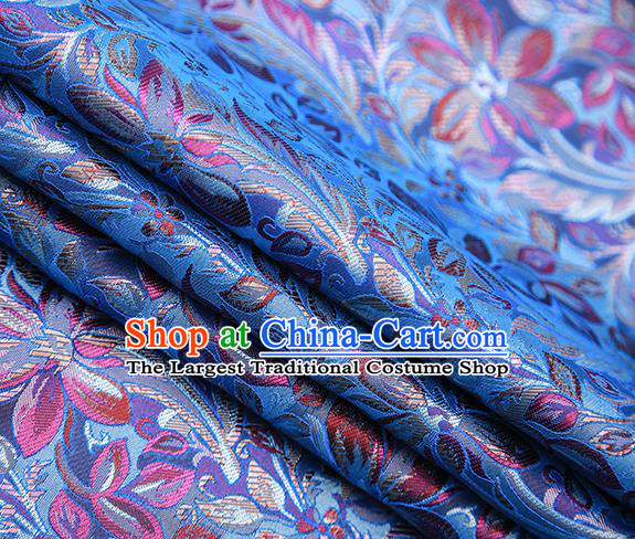 Traditional Chinese Tang Suit Blue Brocade Fabric Classical Petunia Pattern Design Satin Material Drapery