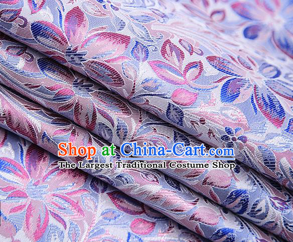 Traditional Chinese Tang Suit Lilac Brocade Fabric Classical Petunia Pattern Design Satin Material Drapery