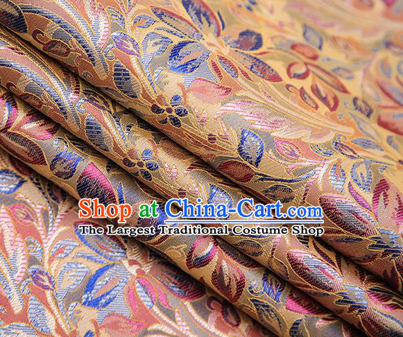 Traditional Chinese Tang Suit Golden Brocade Fabric Classical Petunia Pattern Design Satin Material Drapery