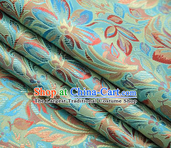 Traditional Chinese Tang Suit Light Green Brocade Fabric Classical Petunia Pattern Design Satin Material Drapery