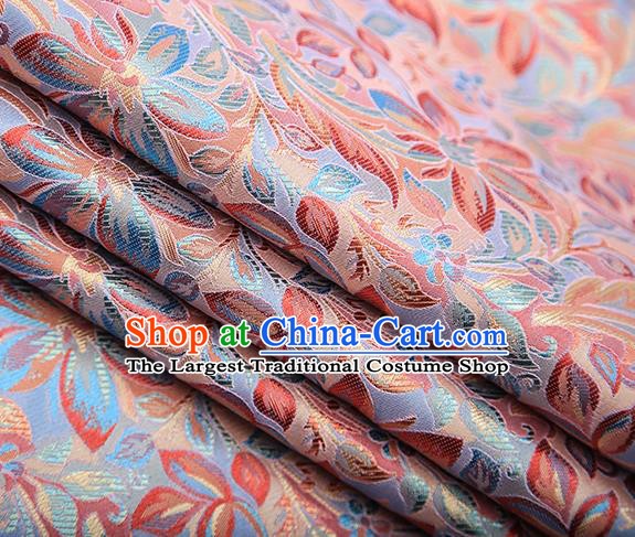 Traditional Chinese Tang Suit Dusty Pink Brocade Fabric Classical Petunia Pattern Design Satin Material Drapery