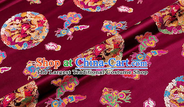 Chinese Traditional Wine Red Nanjing Brocade Satin Fabric Tang Suit Material Classical Peony Pattern Design Drapery