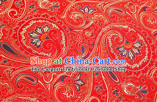 Chinese Traditional Satin Classical Golden Loquat Flower Pattern Design Red Brocade Fabric Tang Suit Material Drapery