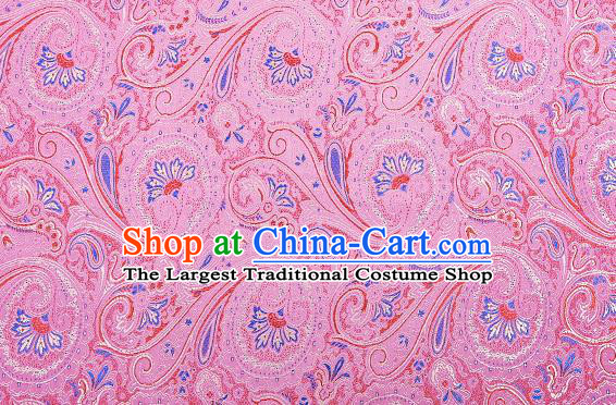 Chinese Traditional Satin Classical Loquat Flower Pattern Design Pink Brocade Fabric Tang Suit Material Drapery