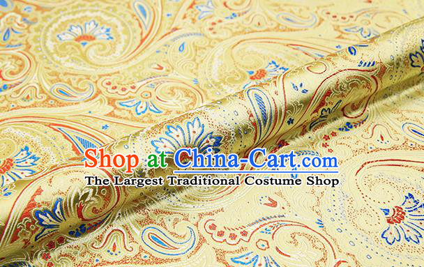 Chinese Traditional Satin Classical Loquat Flower Pattern Design Light Golden Brocade Fabric Tang Suit Material Drapery