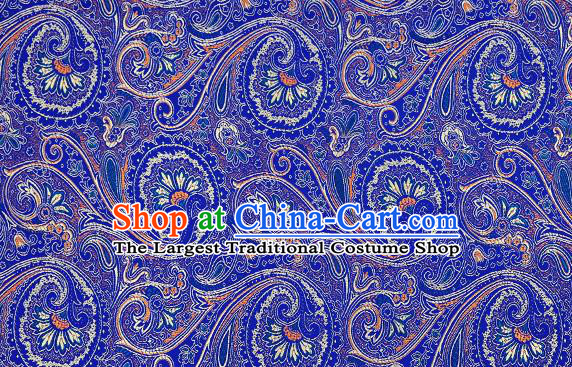 Chinese Traditional Satin Classical Loquat Flower Pattern Design Royalblue Brocade Fabric Tang Suit Material Drapery