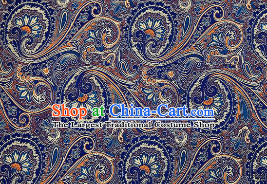 Chinese Traditional Satin Classical Loquat Flower Pattern Design Navy Brocade Fabric Tang Suit Material Drapery
