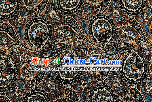 Chinese Traditional Satin Classical Loquat Flower Pattern Design Black Brocade Fabric Tang Suit Material Drapery