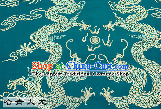 Chinese Traditional Satin Classical Dragons Pattern Design Green Brocade Fabric Tang Suit Material Drapery