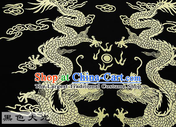 Chinese Traditional Satin Classical Dragons Pattern Design Black Brocade Fabric Tang Suit Material Drapery