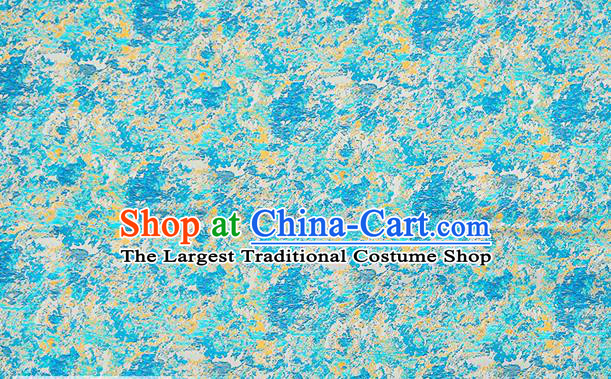 Chinese Traditional Satin Classical Pattern Design Blue Brocade Fabric Qipao Dress Material Drapery