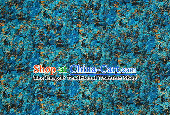 Chinese Traditional Satin Classical Pattern Design Deep Blue Brocade Fabric Qipao Dress Material Drapery