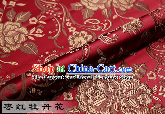 Chinese Traditional Wine Red Satin Classical Peony Pattern Design Brocade Fabric Tang Suit Material Drapery