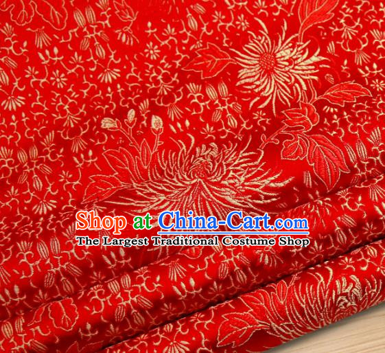 Chinese Traditional Red Brocade Satin Fabric Tang Suit Material Classical Chrysanthemum Pattern Design Drapery