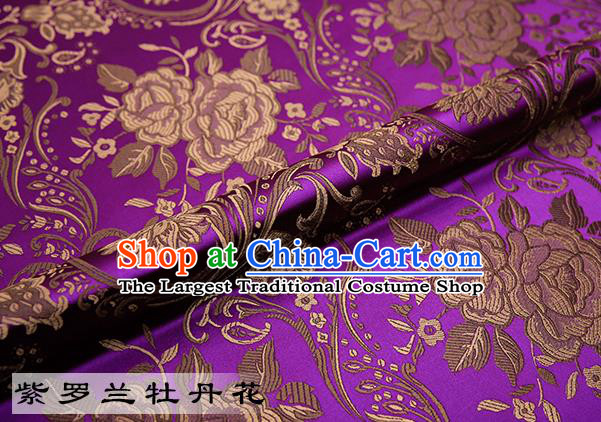 Chinese Traditional Purple Satin Classical Peony Pattern Design Brocade Fabric Tang Suit Material Drapery