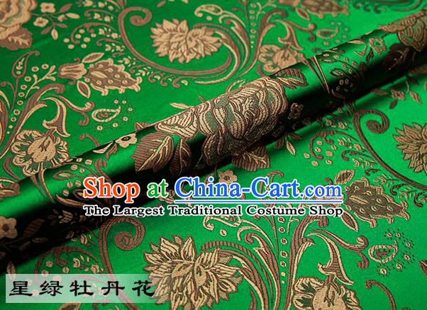 Chinese Traditional Green Satin Classical Peony Pattern Design Brocade Fabric Tang Suit Material Drapery