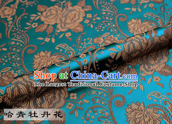 Chinese Traditional Blue Satin Classical Peony Pattern Design Brocade Fabric Tang Suit Material Drapery