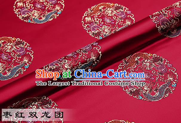 Chinese Traditional Purplish Red Satin Classical Dragons Pattern Design Brocade Fabric Tang Suit Material Drapery