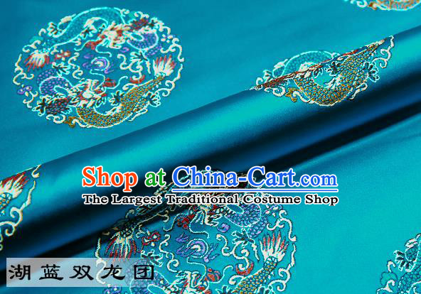 Chinese Traditional Blue Satin Classical Dragons Pattern Design Brocade Fabric Tang Suit Material Drapery