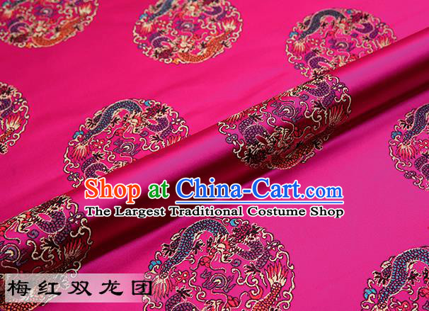 Chinese Traditional Rosy Satin Classical Dragons Pattern Design Brocade Fabric Tang Suit Material Drapery