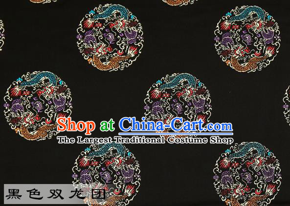 Chinese Traditional Black Satin Classical Dragons Pattern Design Brocade Fabric Tang Suit Material Drapery