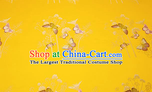 Chinese Traditional Cushion Yellow Satin Classical Butterfly Pattern Design Brocade Fabric Material Drapery