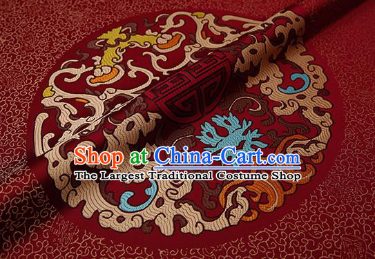 Chinese Traditional Classical Dragons Pattern Design Purplish Red Brocade Fabric Cushion Material Drapery