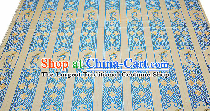 Chinese Traditional Classical Embroidered Blue Phoenix Pattern Design Brocade Fabric Cushion Material Drapery