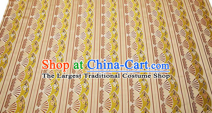 Chinese Traditional Classical Embroidered Yellow Fans Pattern Design Brocade Fabric Cushion Material Drapery