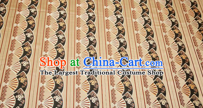 Chinese Traditional Classical Embroidered Black Fans Pattern Design Brocade Fabric Cushion Material Drapery