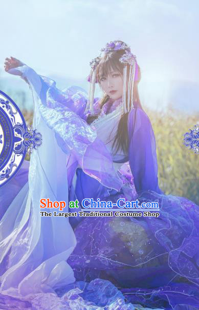 Chinese Ancient Cosplay Costumes Traditional Princess Embroidered Hanfu Clothing and Headpiece Complete Set