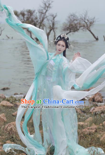 Traditional Chinese Cosplay Peri Goddess Hanfu Dress Ancient Princess Embroidered Costumes and Headpiece for Women