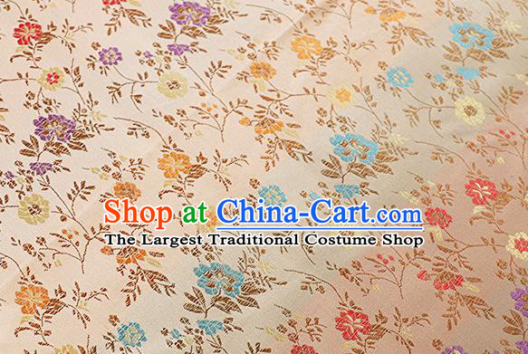 Chinese Traditional Garment Fabric Classical Flowers Pattern Design Light Golden Brocade Cushion Material Drapery