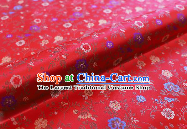 Chinese Traditional Garment Fabric Classical Flowers Pattern Design Red Brocade Cushion Material Drapery