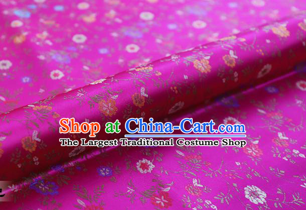 Chinese Traditional Garment Fabric Classical Flowers Pattern Design Rosy Brocade Cushion Material Drapery