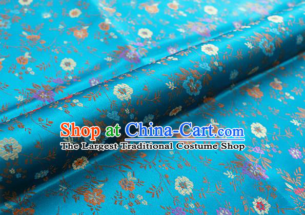 Chinese Traditional Garment Fabric Classical Flowers Pattern Design Blue Brocade Cushion Material Drapery