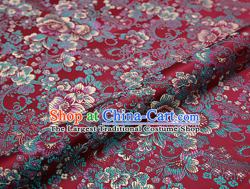 Purplish Red Brocade Chinese Traditional Garment Fabric Classical Peony Pattern Design Satin Cushion Material Drapery