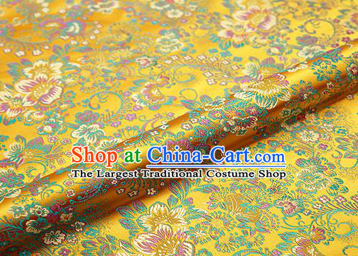 Golden Brocade Chinese Traditional Garment Fabric Classical Peony Pattern Design Satin Cushion Material Drapery