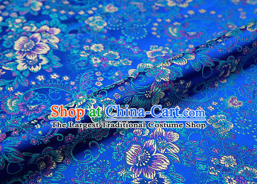 Blue Brocade Chinese Traditional Garment Fabric Classical Peony Pattern Design Satin Cushion Material Drapery